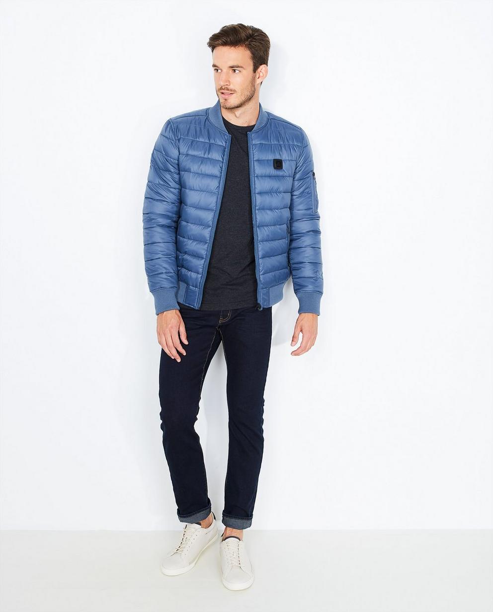 Gewatteerde gladde jas - in blauwgrijs - Quarterback